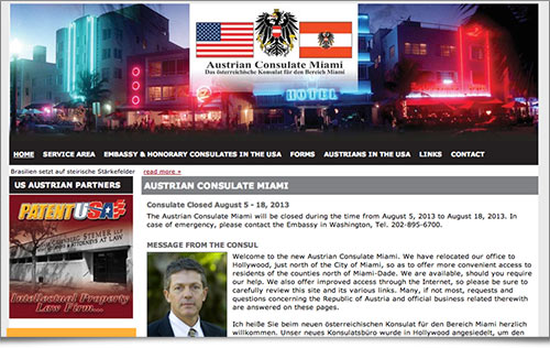 Austrian Consulate Miami website