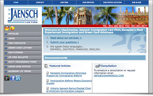 Jaensch Immigration Law Firm website
