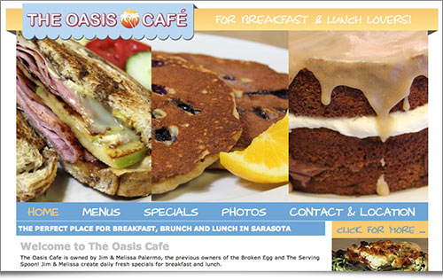 Oasis Cafe Restaurant website